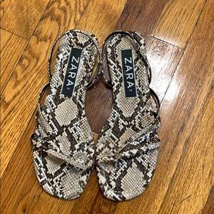 Zara sandals animal print